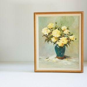 1972 Original Oil or Acrylic Yellow Roses in Vase
